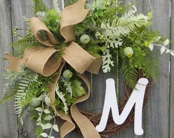Greenery Wreath, Wreath for All Year Round, Monogram Wreath,  Everyday Burlap Wreath with Letter, Door Wreath, Front Door Wreath