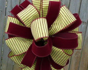 Christmas Tree Top Bow - Elegant Burgundy and Green Tree Topper for Christmas or decorations for Newel Post