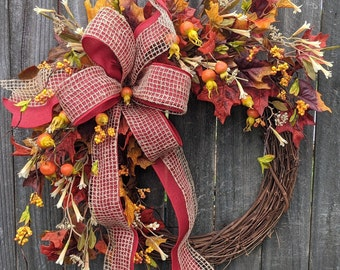 Fall Wreath, Fall Berry Wreath, Fall Leaf Wreath, Fall Wreath with Bow, LIMITED EDITION,