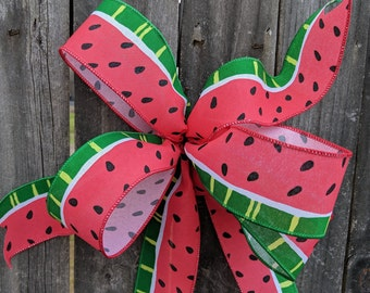 Wreath Bow, Watermelon Design, Watermelon Door Wreath, Simple Watermelon Bow Wreaths and Lanterns, Bow for Wreath, Summer Watermelon Bow