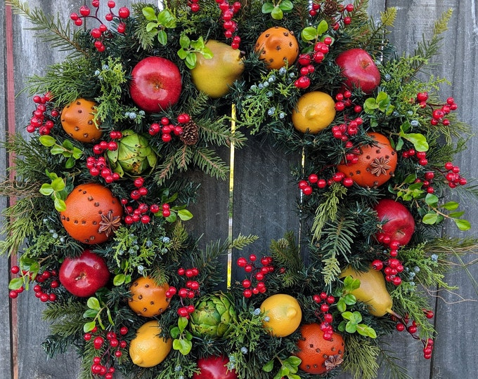 Featured listing image: Christmas Wreath - Williamsburg Style Christmas Wreath with Fruit and Berries - Christmas Fruit Wreath