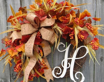 Wreath, Fall Wreath with Monogram, Fall Wreath with Letter, Cork Wreath, Fall Harvest Wheat Wreath ,Fall Leaves, Fall Gathering Wreath