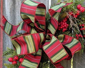 Plaid Christmas Bow, Wired Christmas Ribbon for Wreath Bow, Plaid Bow, Elegant ribbon, Green Bow for Christmas Decoration