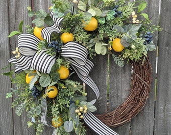 Wreath - Lemon Eucalyptus Wreath - Everyday Blueberry Wreath - Wreath, Front Door Wreath, Year Round Wreath, Door Wreath, Wreath with Bow