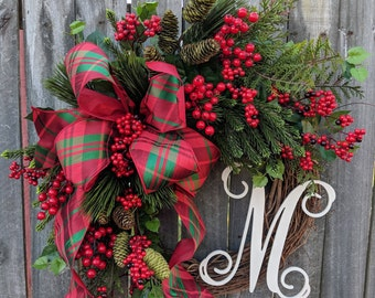 Christmas Wreath, Holiday Decor, Plaid Elegance, Berries and Pine,Wreath with Letter, Initial, Monogram, Wreath, Christmas Decor