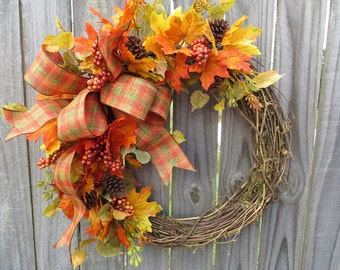 Halloween Wreath, Thanksgiving Wreath, Fall of the Year Wreath