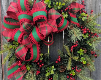 Christmas Wreath Holiday Wreath Plaid Bow Wreath Bright Greenery Elegant Christmas Decoration Berry Wreath, Door Wreath