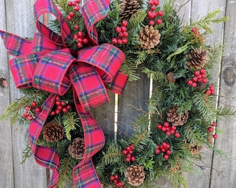 Christmas Wreath, Holiday Wreath, Country Christmas, Plaid Holiday Wreath, Country Christmas Wreath, Holiday Door Wreath