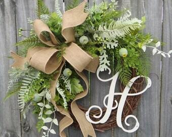 Door Wreath, Monogram Wreath, Burlap Wreath, Fern and Pod Wreath for All Year Round, Everyday Wreath, Green Wreath, Natural Wild Front Door