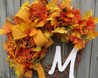 Fall Wreath, Fall Wreaths, Burlap Wreath for Fall, Burlap Monogram Wreaths, Door Wreath for Fall, Door Decor for Fall, Fall Holiday Wreath