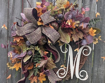 Fall Door Wreath, Plum Purple Fall Wreath, Wired Fall Bow, No Orange Wreath, Fall Decoration, Burgundy Fall Wreath, Fall Wreaths