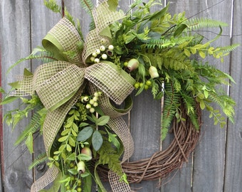 Everyday Wreath, Everyday Pod and Burlap Wreath, Spring Wreath, Summer Wreath, Fall Wreath, Door Wreath, Front Door Wreath