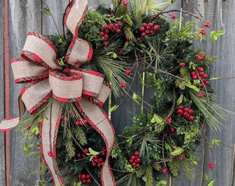 Christmas Wreath, Holiday Wreath, Plaid Juniper and Pine Wreath, Wild Berries, Front Door Wreath, Front Door, Red Berries, Christmas Wreath