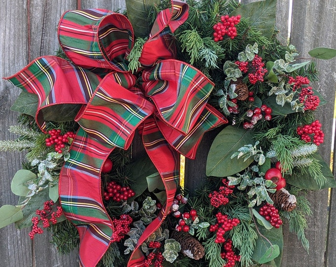 Featured listing image: Christmas Wreath, Holiday Wreath, Plaid Juniper and Pine Wreath, Wild Berries, Front Door Wreath, Front Door, Red Berries, Christmas Wreath