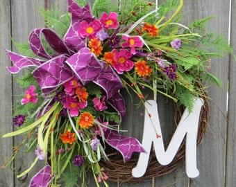 Spring Wreath - Spring Pink Purple Orange Wreath,  Front Door Wreath Decor, Monogram Springtime Wreath, Bright Colors Summer Wreath, Etsy