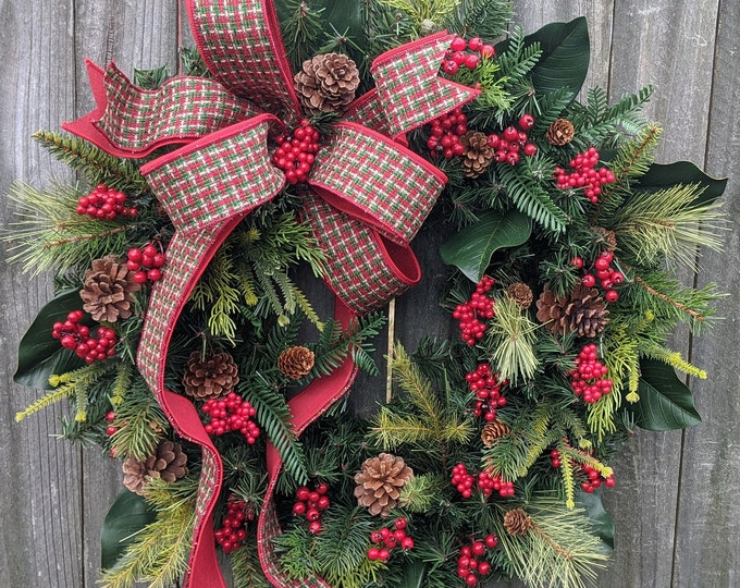 Featured listing image: Christmas Wreath, Primitive Winter Wreath, Red and Green Plaid Check Natural  Christmas wreath Magnolia, Red Berries, Christmas Decor