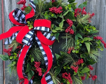 Christmas Wreath Holiday Wreath Black and White Bow Wreath Bright Greenery Elegant Christmas Decoration Berry Wreath, Door Wreath