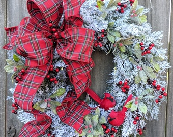 Christmas Wreath, Snowy Cardinal Wreath, Plaid Tartain Wreath, Realistic Wreath Berry Winter Wonderland Christmas Door Decor
