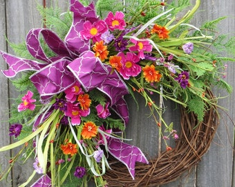 Spring Wreath, Spring/Summer Wreath, Spring Wreath with Bow,  Quatrefoil Wreath, Summer Wreath, Purple Wreath, Spring Door Wreath