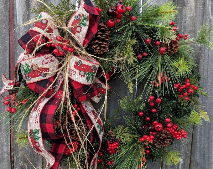 Featured listing image: Christmas Wreath, Red Truck Holiday Wreath, Red and Black Check Little Red Truck Christmas Decor, Christmas wreath with Bow, Red Berries