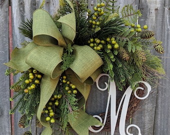 Christmas Monogram Wreath, Winter Monogram Wreath, Realistic No Red Wreath, Deluxe Berry Wreath, Green Holiday Wreath, Pine and Berries