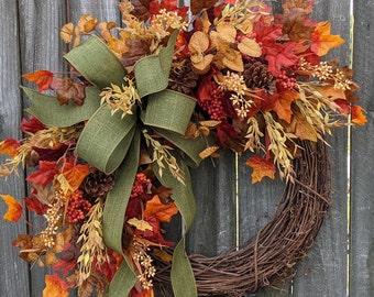 Fall Wreath, Fall Berry Wreath, Fall Leaf Wreath, Fall Green Bow Wreath