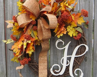 Fall Door wreath, door wreath, fall wreath, fall monogram wreath, Cork Wreath, Fall Wreath with Letter, Etsy Wreath, Handmade Fall Decor