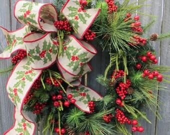 Christmas Wreath Winter Wreath Burlap Holly Wreath Greenery Holly Berry Riot Burlap Winter Wonderland Christmas Door Decor