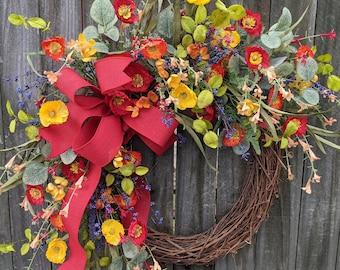 Spring Wreath, Spring/Summer Wreath, Spring Wreath with Bow,  Poppy Wreath, Summer Wreath, Purple Wreath, Spring Door Wreath