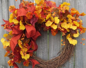 FALL WREATH, Berries and Fall Leaves Wreath, Fall Wreath in Gold, Bittersweet Wreath, Ginkgo Fall Wreath,Thanksgiving Decor, Bright Fall