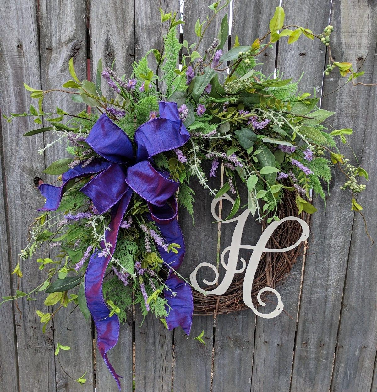 Purple Door Wreath Lavender Monogram Wreath Spring Wreath Spring