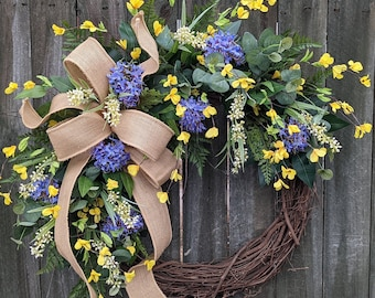 Spring Wreath, Forsythia and Allium Wreath, Springtime Yellow and Blue/Purple, Spring blooms Wreath, Front Door Wreath for Spring and Summer