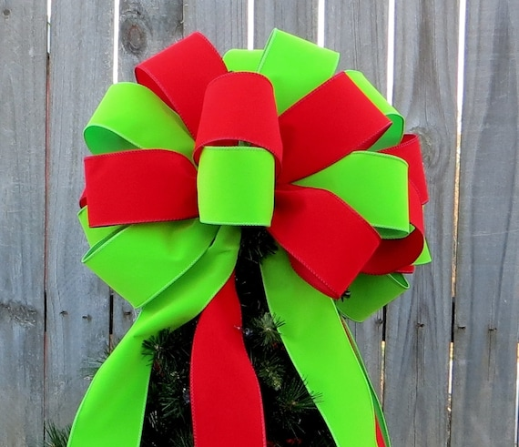 Tree Topper - Christmas Tree Topper - Colorful Red and New Green Tree -  Tree Top Bow in Bright Green and Red Velvet