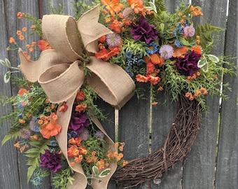 Spring Wreath, Spring/Summer Wreath, Spring Wreath with Bow,  Wildflower Wreath, Summer Wreath, Purple Wreath, Spring Door Wreath