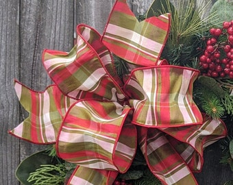 Christmas Bow, Wired Christmas Ribbon for Wreath Bow, Stripe Bow, Elegant ribbon, Red and Green Bow for Christmas Decoration