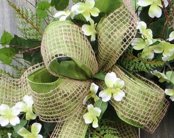 Bow for Wreath, Burlap and Faux Silk Wreath Bow, Everyday Green and Natural Burlap Mesh Bow, Bow Only