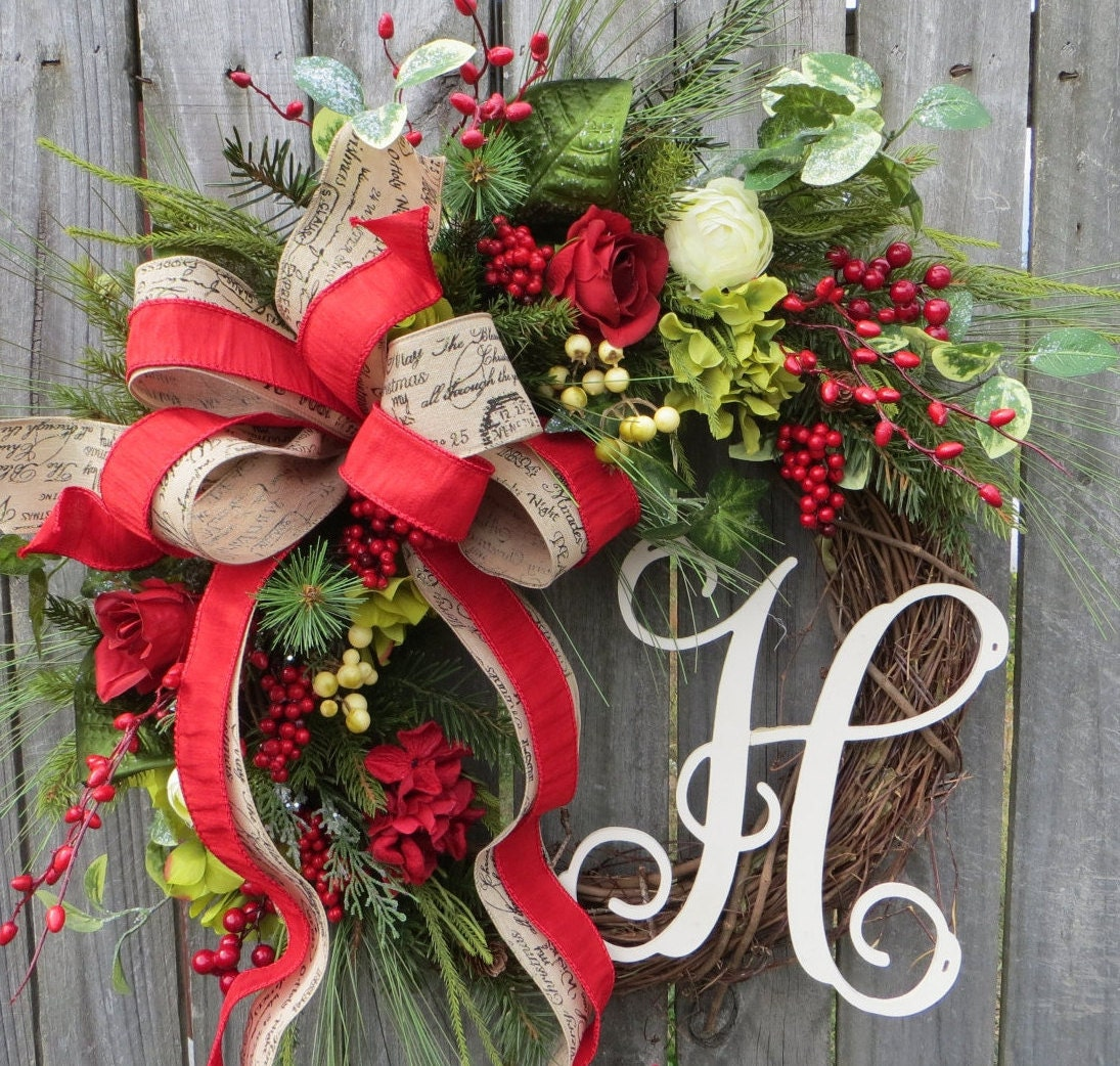 Christmas Ribbon Wreaths.Christmas Grapevine Wreath Rose Hydrangea Wreath Merry