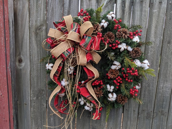 Primitive Christmas / Holiday Wreath - Cotton, Burlap Textures, Twine, Unique Burlap Wreath, Plaid, Berries Designer Holiday Decor
