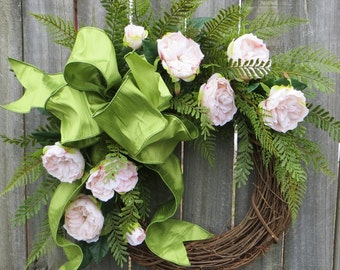 Spring Wreath - Pale Pink Spring Wreath - Spring Wedding Decor Wreath - Housewarming Door Wreath Gift - Mothers Day Wreath Gift