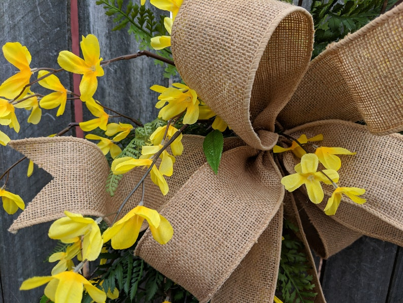 Yellow Forsythia Burlap Wreath for Door or Mantle Door wreath Yellow Forsythia Wreath Spring and Summer Spring Summer Wreath Etsy Wreath
