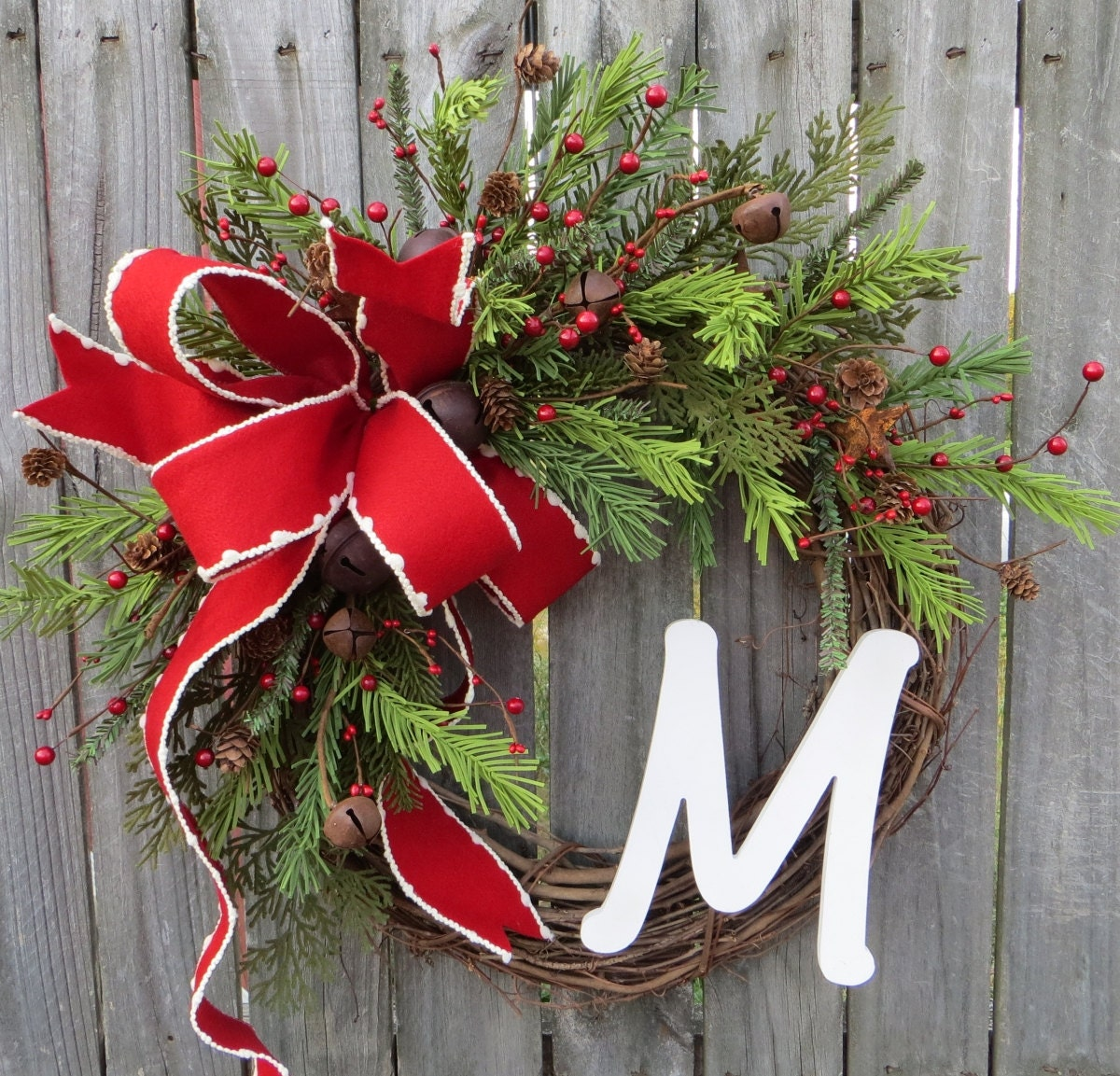 christmas holiday wreath monogram christmas wreath christmas wreaths rustic bell christmas wreaths christmas wreaths etsy - Christmas Wreaths Etsy