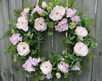 Wedding Wreath - Spring / Summer Wreath for door - Blush Light Pink Wreath, Door Wreath, Front Door Wreath