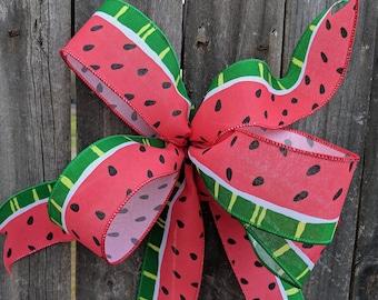 Wreath Bow, Watermelon Design, Watermelon Door Wreath, Simple Watermelon Bow Wreaths and Lanterns, Bow for Wreath, Summer Watermelon Bow