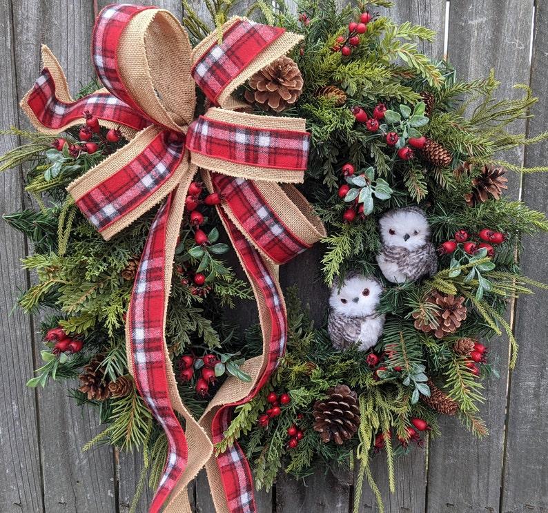 Christmas Wreath Owl Wreath Burlap Owl Wreath Burlap Color image 1