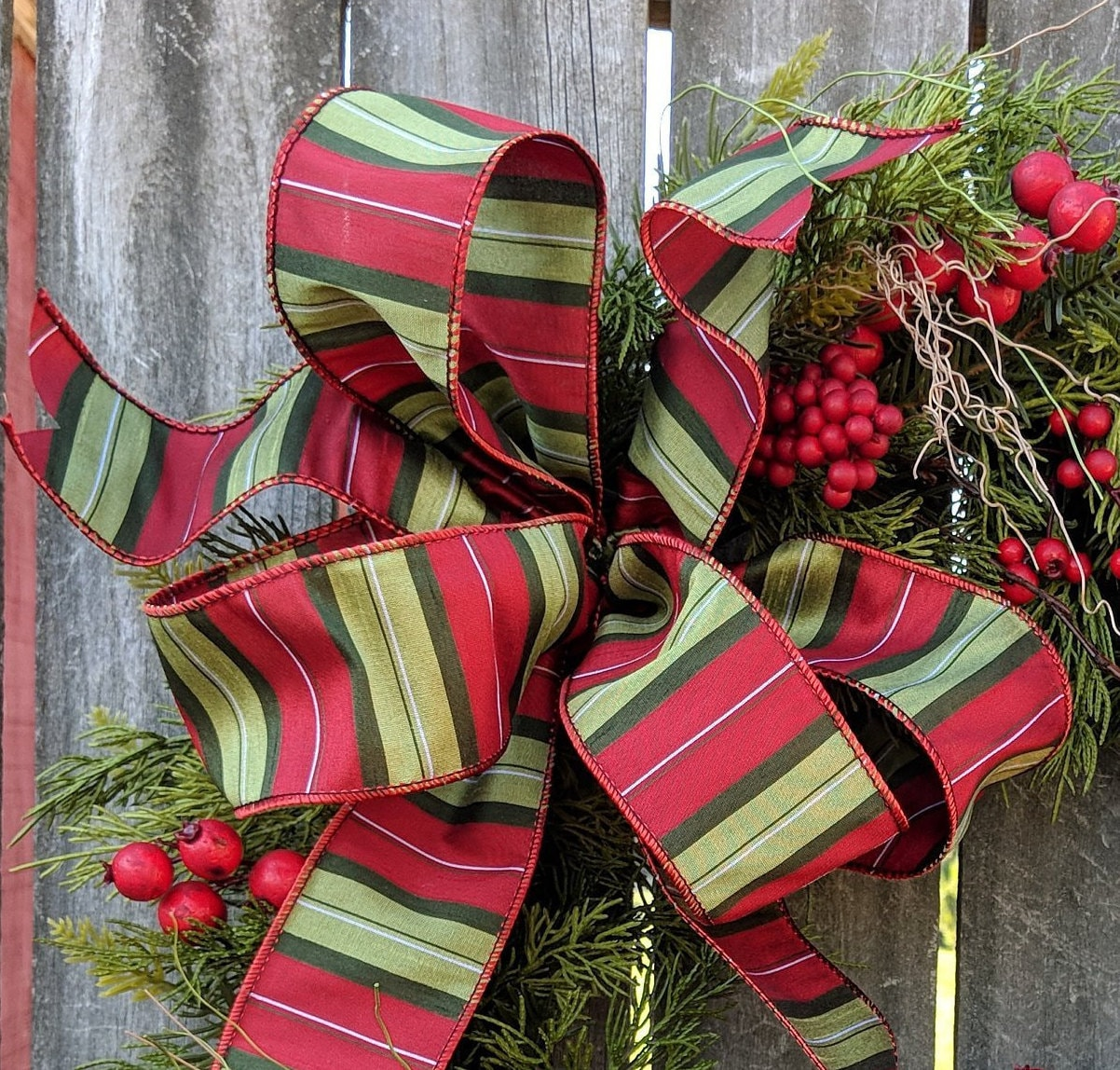 Plaid Christmas Bow Wired Christmas Ribbon for Wreath Bow ...