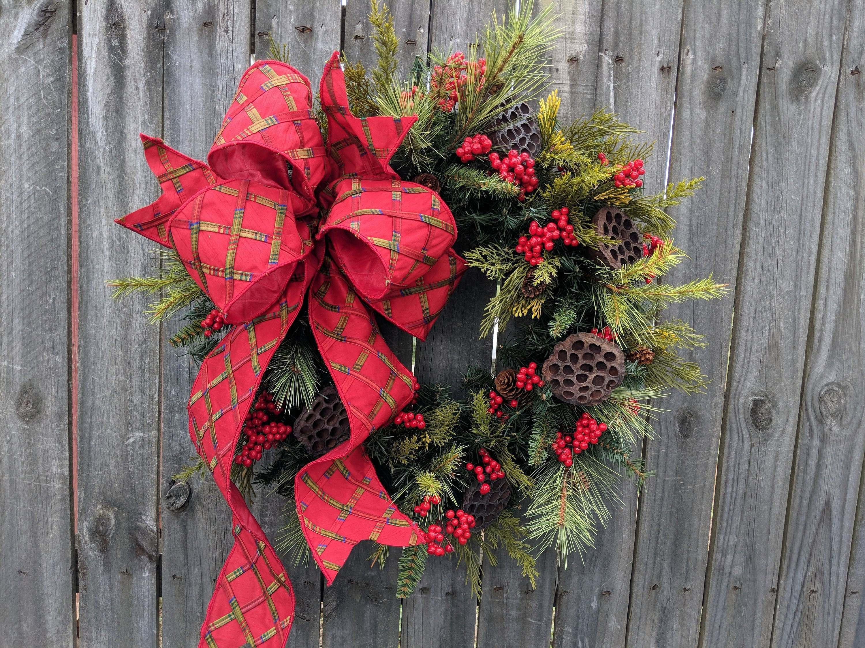 christmas wreath large bow wreath realistic christmas greenery wreath red berries elegant bright red christmas decor red berries