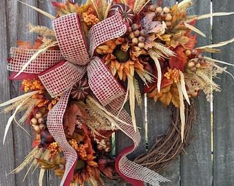 Fall Wreath, Fall Pumpkin Wreath, Fall Sunflower Wreath, Fall Bow Wreath, Halloween Thanksgiving Door wreath