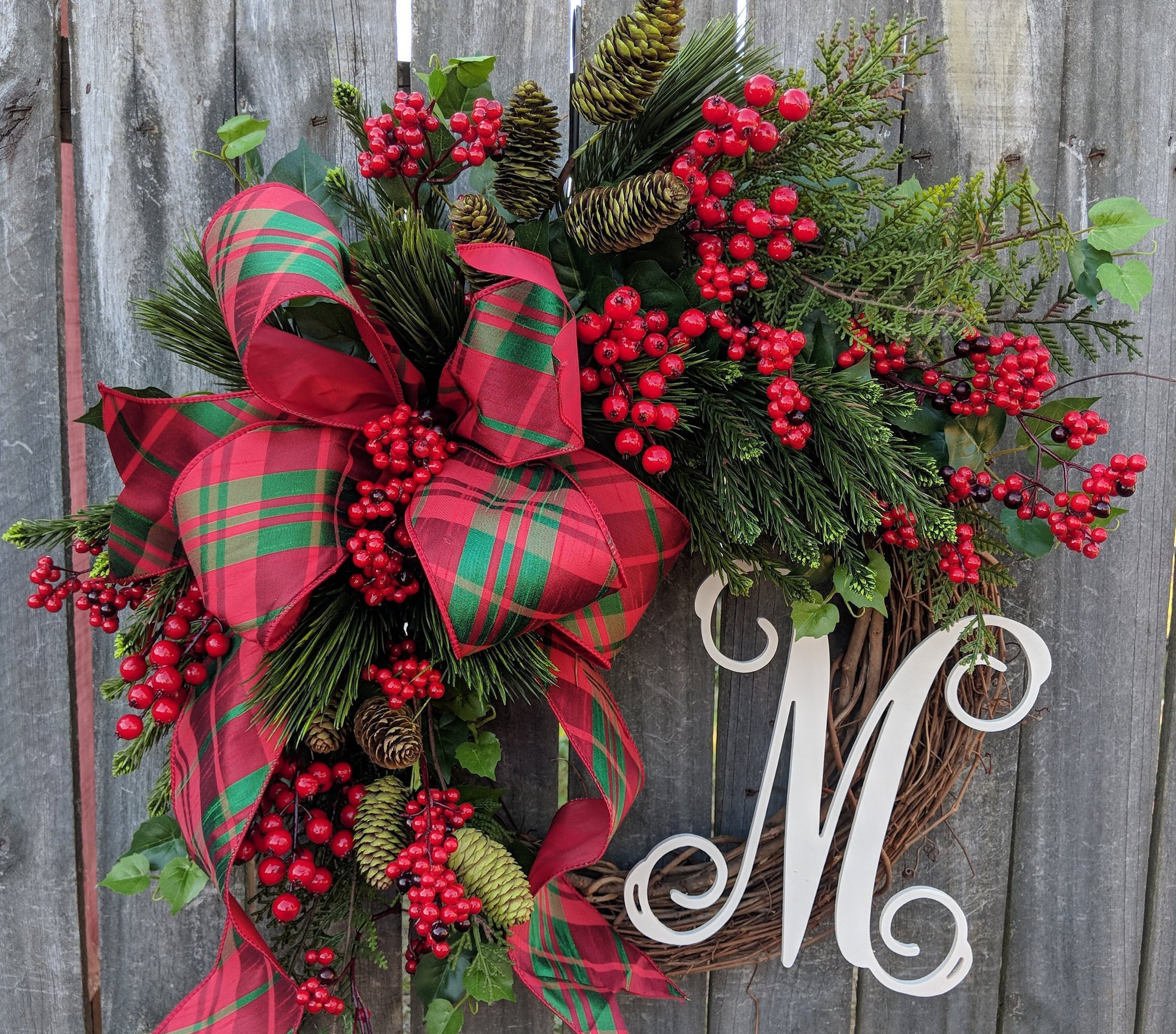 Christmas Wreath Holiday Decor Plaid Elegance Berries And Pinewreath With Letter Initial Monogram Wreath Christmas Decor
