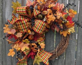 Fall Wreath, Fall Pumpkin Wreath, Fall check plaid Wreath, Fall Bow Wreath, Halloween Thanksgiving Door wreath