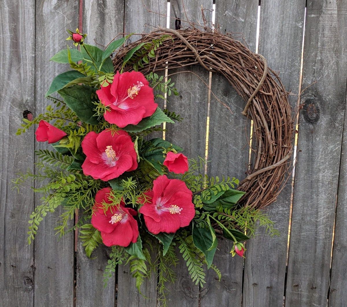 Tropical Hibiscus Wreath Realistic Hibiscus Fern Wreath Spring Summer Wreath Red Hibiscus Bloom Wreath Horn S Handmade Wreath